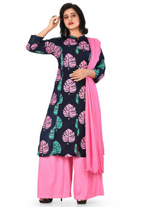 Printed Cotton Rayon Pakistani Suit in Navy Blue