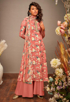 Printed Cotton Rayon Pakistani Suit in Peach