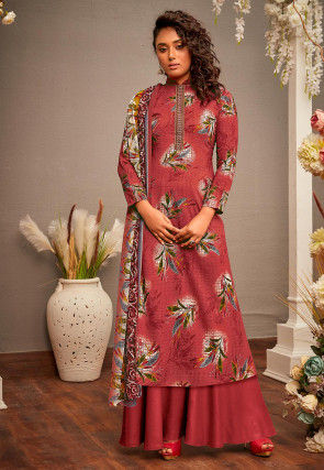 Printed Cotton Rayon Pakistani Suit in Pink