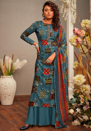 Printed Cotton Rayon Pakistani Suit in Teal Blue