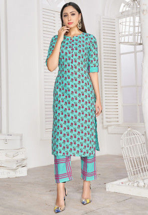 Printed Cotton Rayon Straight Kurta Set in Turquoise