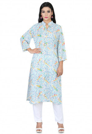 Printed Cotton Rayon Straight Kurta Set in White and Multicolor