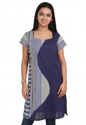 Printed Cotton Rayon Straight Kurti in Blue