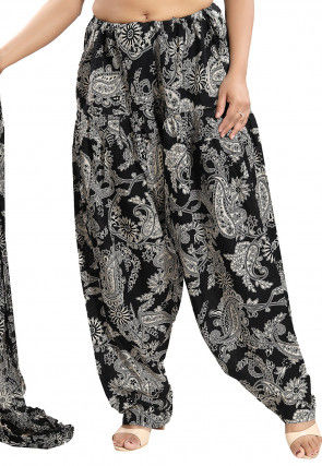 Printed Cotton Salwar Set in Black and White
