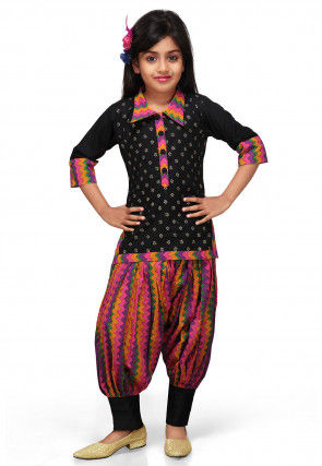 Printed Cotton Salwar Set in Black