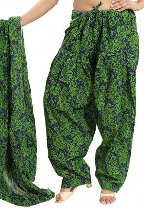 Printed Cotton Salwar Set in Green and Navy Blue