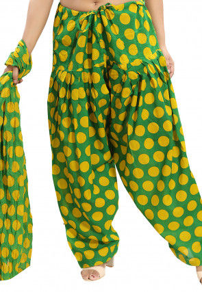 Printed Cotton Salwar Set in Green and Yellow
