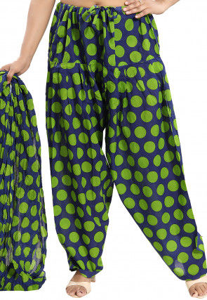 Printed Cotton Salwar Set in Navy Blue and Green