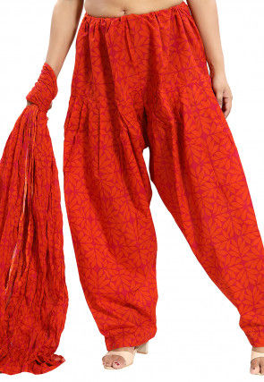 Printed Cotton Salwar Set in Orange and Pink