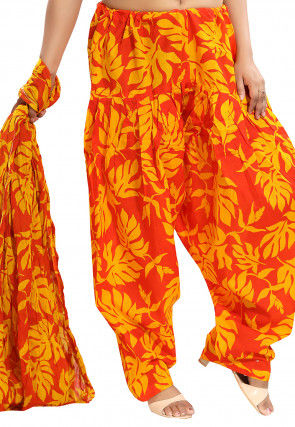 Printed Cotton Salwar Set in Orange and Yellow