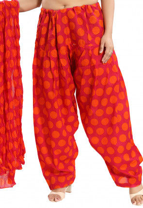 Printed Cotton Salwar Set in Pink and Orange