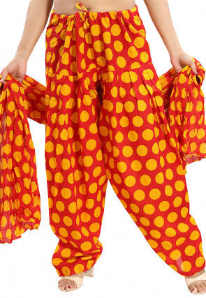 Printed Cotton Salwar Set in Red and Yellow
