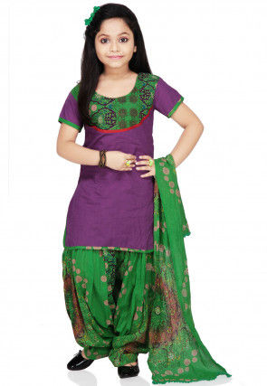 Printed Cotton Salwar Set in Violet