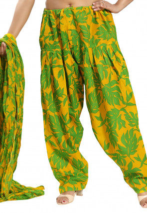 Printed Cotton Salwar Set in Yellow and Green