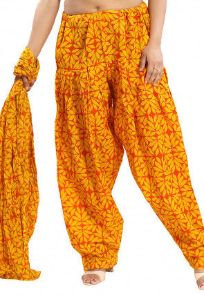 Printed Cotton Salwar Set in Yellow and Orange