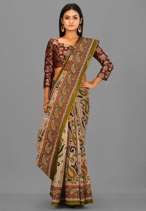 Printed Cotton Saree in Beige and Multicolor