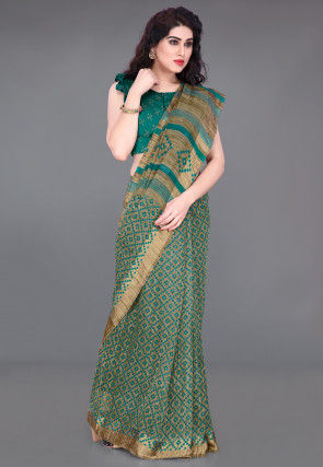 Printed Cotton Saree in Beige and Teal Green
