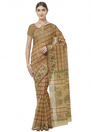 Printed Cotton Saree in Beige