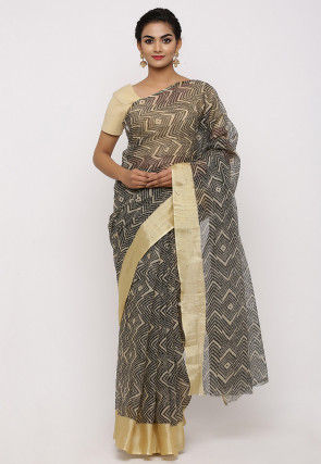 Printed Cotton Saree in Black and Beige