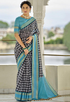 Printed Cotton Saree in Black and White