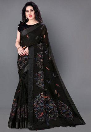 Printed Cotton Saree in Black