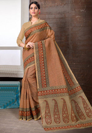 Printed Cotton Saree in Brown