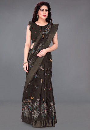 Printed Cotton Saree in Charcoal Black