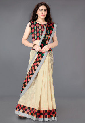 Printed Cotton Saree in Cream and Red
