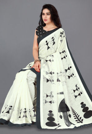Printed Cotton Saree in Cream