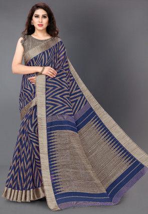 Printed Cotton Saree in Dark Blue and Beige