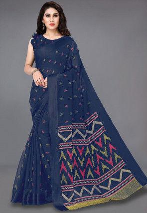 Printed Cotton Saree in Dark Blue