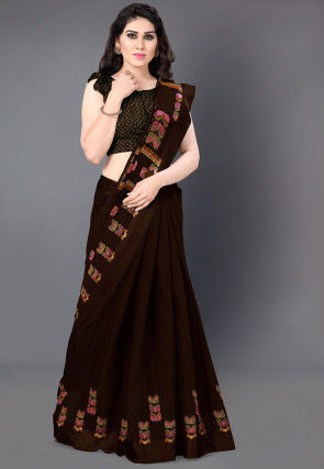 Printed Cotton Saree in Dark Brown