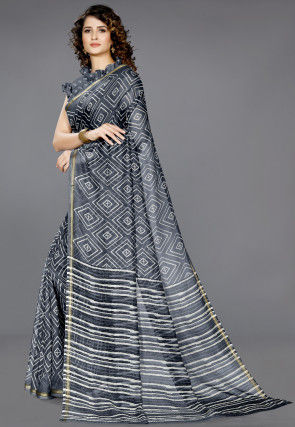 Printed Cotton Saree in Dark Grey