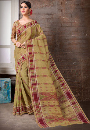 Printed Cotton Saree in Dusty Olive Green