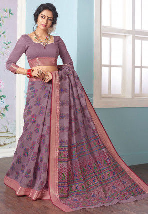 Printed Cotton Saree in Dusty Purple