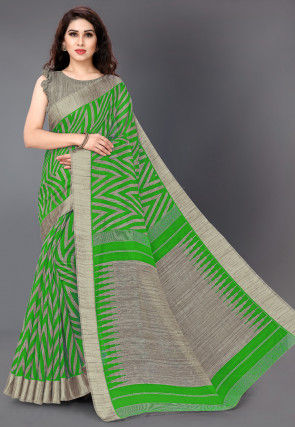 Printed Cotton Saree in Green and Beige