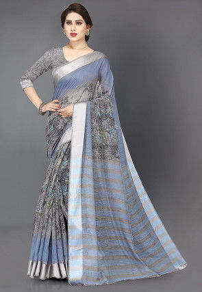 Printed Cotton Saree in Light Blue and Grey