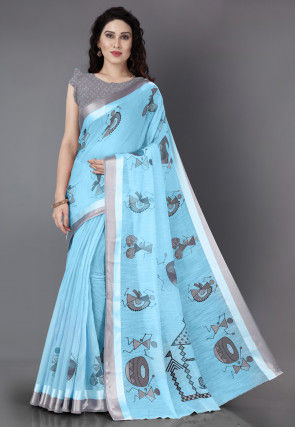 Printed Cotton Saree in Light Blue