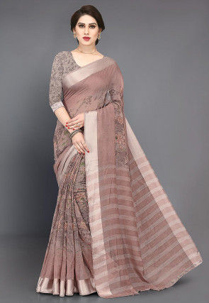 Printed Cotton Saree in Light Brown