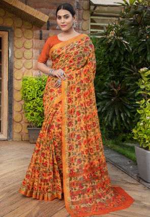 Printed Cotton Saree in Light Mustard