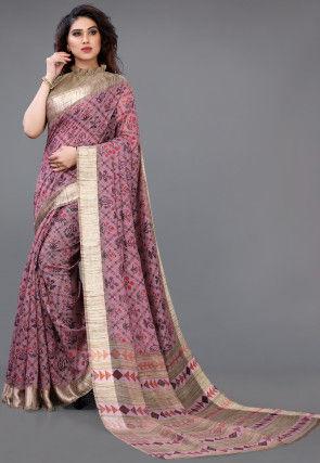 Printed Cotton Saree in Light Purple