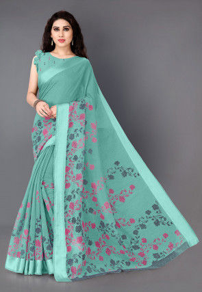 Printed Cotton Saree in Light Teal Green
