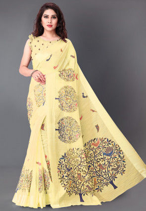 Printed Cotton Saree in Light Yellow
