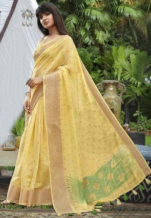 Printed Cotton Saree in Light Yellow
