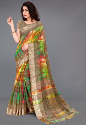 Printed Cotton Saree in Multicolor