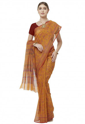 Printed Cotton Saree in Mustard