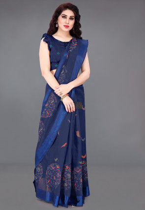 Printed Cotton Saree in Navy Blue
