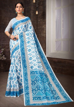 Printed Cotton Saree in Off White and Blue