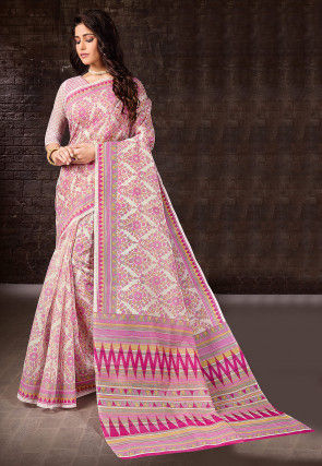 Printed Cotton Saree in Off White and Pink