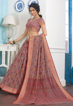 Printed Cotton Saree in Old Rose